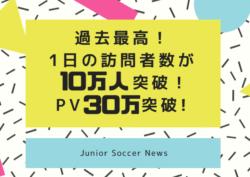 ジュニアサッカーNEWSの1日の訪問者数が10万人を突破しました