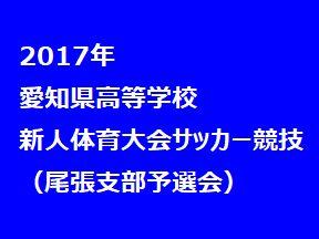 2017年 愛知県高等学校新人体育大会 サッカー競技 名南支部予選会 県大会出場校決定-
