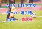 2018年度  愛知県中学校(U-13)サッカー選手権大会 東尾張地区(愛日大会)1/19,20結果速報!情報お待ちしています!