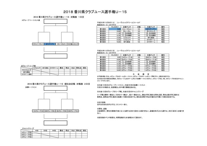2018香川県クラブユース選手権U-15 12/9結果速報!情報お待ちしています!