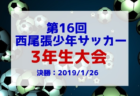 2018年度 愛知  第16回 西尾張少年サッカー3年生大会 1/19結果速報!情報お待ちしています!
