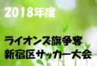 2018年度 第37回ライオンズ旗争奪新宿区サッカー大会【東京】 1/20結果速報!情報お待ちしています!