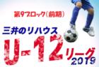 結果速報 三井のリハウス1ブロック | 2019年度 三井のリハウスU-12サッカーリーグ 東京 第1ブロック前期