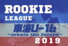 東海ルーキーリーグU-16~create the future~2019(クリエイト ザ フューチャー) 7/19までの結果 次節は7/25・26