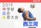 2019年度 西三河中学総体 愛知【梅坪台、甲山、美里、葵がベスト4】次回 準決・決勝7/25開催!