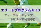 【エリートプログラム U-14】フューチャーキャンプ メンバー・スケジュール(6/19~23@Jヴィレッジ)