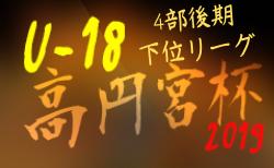 高円宮杯 JFA U-18サッカーリーグ2019 OSAKA 4部後期下位リーグ 大阪 8/25まで結果入力しました!