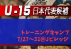 メンバー変更有り【U-15日本代表候補】 参加メンバー・スケジュール発表!トレーニングキャンプ(7/27~31@Jヴィレッジ)