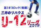 2019年度 三井のリハウスU-12サッカーリーグ東京 第12ブロック後期 全日程終了!