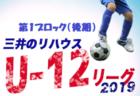 2019年度 三井のリハウスU-12サッカーリーグ東京 第7ブロック後期 結果入力お待ちしています