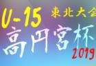 2019年度 高円宮杯JFA全日本U-15サッカー選手権大会東北大会11/10結果掲載!青森山田中、ベガルタが11/16準決勝へ!