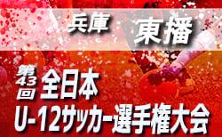 2019年度 JFA第43回全日本U-12サッカー選手権大会 兵庫大会 東播予選 10/20結果速報!次回10/22