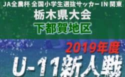 2019年度 第37回栃木県少年サッカー新人大会 下都賀地区予選 組合せ掲載!12/15開幕!