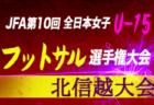 組み合わせ掲載!2019年度 JFA 第10回全日本U-15女子フットサル選手権大会 北信越大会 11/23,24開催!