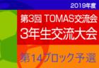 2019年度 第3回TOMAS交流会 東京都3年生サッカー交流会第14ブロック予選 最終結果掲載!優勝はOXALA!