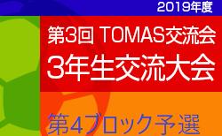 2019年度 第3回TOMAS交流会 東京都3年生サッカー交流会第4ブロック予選 最終結果など詳細募集中!