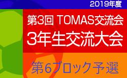 2019年度 第3回TOMAS交流会 東京都3年生サッカー交流会第6ブロック予選 決勝ラウンドの組合せ・日程等募集中!