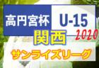 高円宮杯JFA U-15サッカーリーグ2020 関西サンライズリーグ 第8節9/26結果速報!