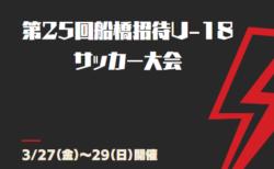2019年度 第25回船橋招待U-18サッカー大会(千葉) 出場15チーム決定! 3/27~29開催!
