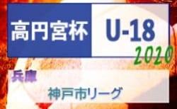 高円宮杯 JFA U-18サッカーリーグ2020 神戸市リーグ(兵庫) 2/15,16結果 次戦は2/23,24