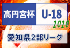 2020年度 高円宮杯U-18 愛知県2部リーグ  第7節 11/28結果更新!次回第8節組み合わせ掲載!12/5開催