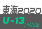 JFA U-13地域サッカーリーグ東海2020  9/20結果速報!結果入力ありがとうございます!次節9/26,27