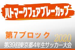 2020年度ハトマークフェアプレーカップ第39回 東京都4年生サッカー大会 7ブロック 組合せ掲載!5月開催予定!