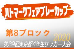 2020年度ハトマークフェアプレーカップ第39回 東京都4年生サッカー大会 8ブロック 組合せ掲載!5月開催予定!