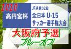 2020年度 高円宮杯JFA第32回全日本U-15サッカー選手権大会 大阪府予選プレーオフ2020 最終予選T2回戦9/26,27結果速報!