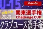 速報!【代替大会】関東クラブユースサッカー選手権U-15 Challenge CUP 2020 11/28 2回戦全結果更新!準決勝は11/29開催!
