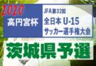2020年度 高円宮杯JFA第32回全日本U-15サッカー選手権大会関東大会 茨城県予選  2次リーグ組合せ決定!10/3.4~開催