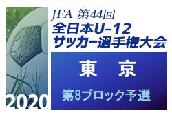 2020年度 JFA第44回全日本少年サッカー選手権大会 東京大会 第8ブロック予選 9/27結果掲載!次回10/4開催!