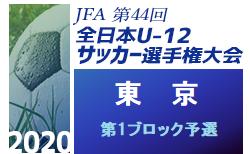 2020年度 JFA第44回全日本少年サッカー選手権大会 東京大会 第1ブロック予選 9/27結果情報募集中!次回10/25開催!