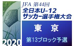 2020年度 JFA第44回全日本少年サッカー選手権大会 東京大会 第13ブロック予選 9/26結果速報お待ちしています!