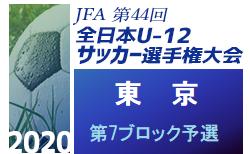 2020年度 JFA第44回全日本少年サッカー選手権大会 東京大会 第7ブロック予選 9/26結果募集中!次回10/3開催!