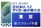 2020年度 JFA第44回全日本少年サッカー選手権大会 東京大会 第15ブロック予選 優勝はFC多摩川Jr!