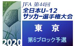 2020年度 JFA第44回全日本少年サッカー選手権大会 東京大会 第6ブロック予選 結果速報!10/31開催!