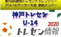 【U-14神戸トレセン】2020年度 第7回兵庫県トレセンチャレンジリーグ(U-14)サッカー大会参加メンバー