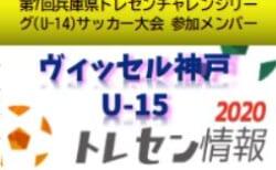 【U-14ヴィッセル神戸U-15】2020年度 第7回兵庫県トレセンチャレンジリーグ(U-14)サッカー大会参加メンバー