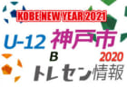 【U-12神戸トレセン】2020年度 KOBE NEW YEAR 2021 市トレセンU-12 Aチーム 参加メンバー
