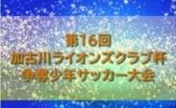 2020年度 第16回加古川ライオンズクラブ杯争奪少年サッカー大会 2/27,28結果速報!