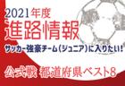 【強豪チーム(ジュニア)に入りたい!】公式戦 都道府県ベスト8掲載【2021年度進路情報】