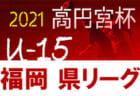2021年度 高円宮杯JFA U-15サッカーリーグ福岡県ユース(U-15)サッカーリーグ 組合せ掲載 4月~開幕