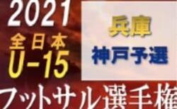 【延期】2021年度 JFA 第27回全日本ユース(U-15)フットサル大会 神戸市予選(兵庫)