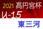 2021年度 高円宮杯 U-15リーグ知多(愛知)準決・決勝5/8結果速報!