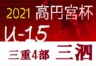 高円宮杯JFAU-15サッカーリーグ2021三重・4部 三泗地区 4/17前期全結果更新!後期の情報お待ちしています!