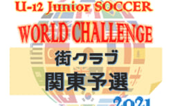 U-12ジュニアサッカーワールドチャレンジ 街クラブ予選 2021 関東予選 出場全16チーム&グループリーグ組合せ判明分掲載!10/30,31に東京にて開催!その他の組合せ情報をお待ちしています!