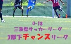 U-18 三重県サッカーリーグ3部下チャンスリーグ 7/23結果掲載!次節8/1