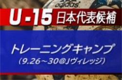 中体連、高体連から各1名が招集!【U-15日本代表候補】トレーニングキャンプメンバー発表!【9.26~30@Jヴィレッジ】