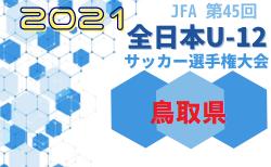 速報!2021年度JFA第45回全日本U-12サッカー選手権大会鳥取県大会 10/23結果更新!準々決勝は10/30